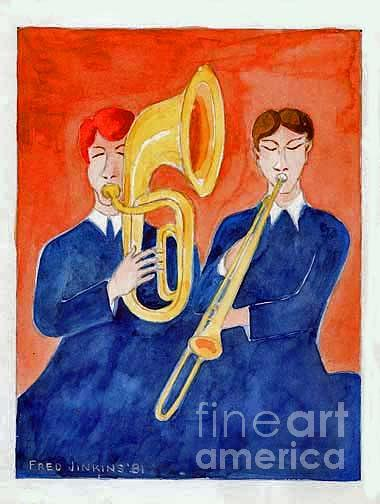 Music Room Painting - Horn Duo by Fred Jinkins