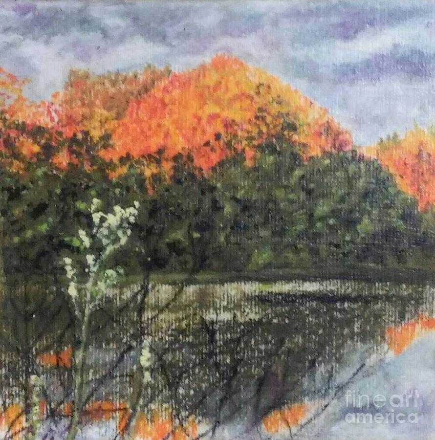 Autumn Drawing - Horn Pond In Autumn by Iris M Gross