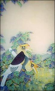 Birds Painting - Hornbills On A Bodhi Tree by Terris Temple