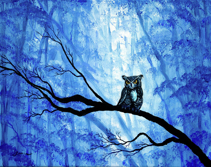 Horned Owl in Deep Blue Woods by Laura Iverson