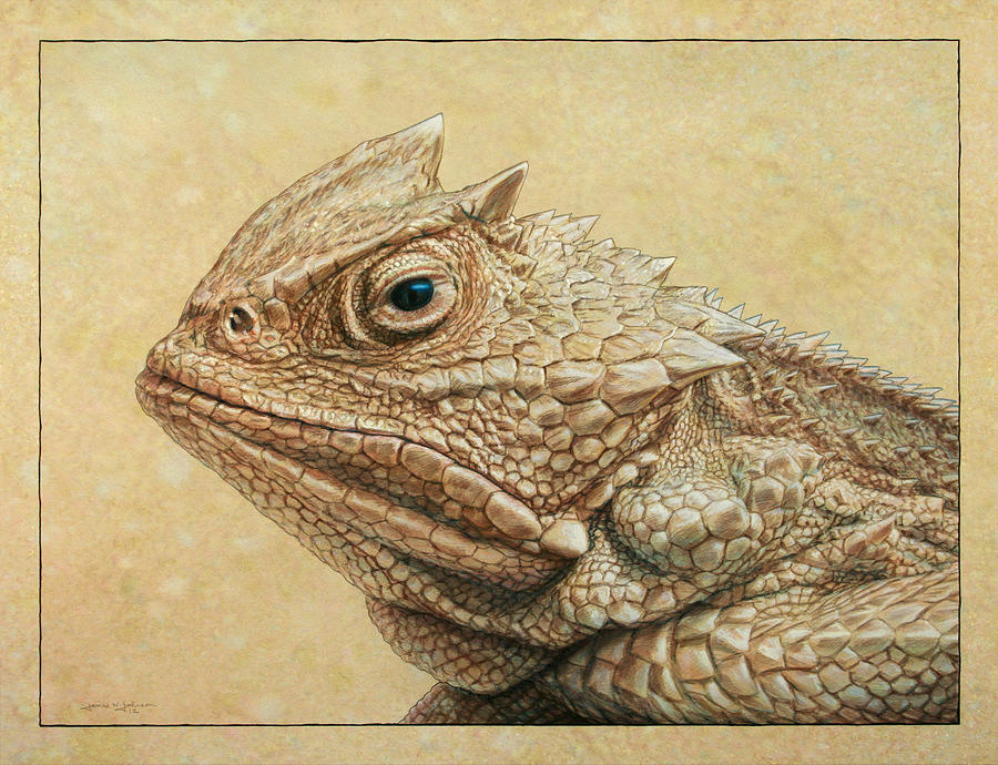 Horned Toad Painting - Horned Toad by James W Johnson