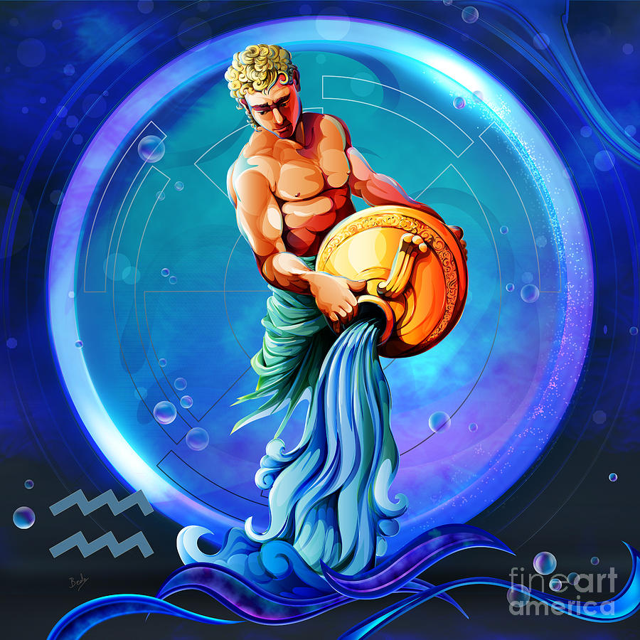 horoscope signs aquarius digital art by peter awax. Black Bedroom Furniture Sets. Home Design Ideas