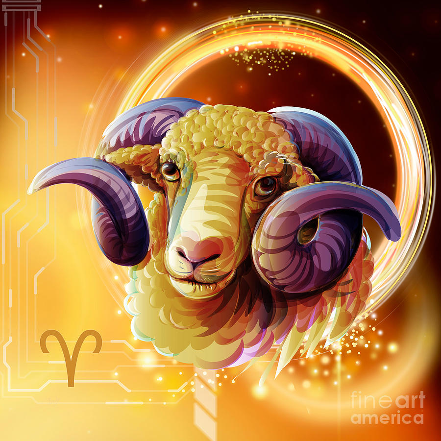 Horoscope Signs Aries Digital Art By Peter Awax