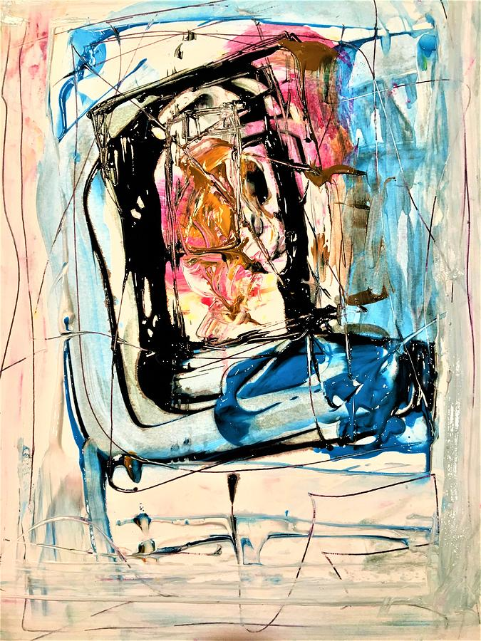 Abstract Painting - Horror On Blue Tv by Dr Ernest Williamson III