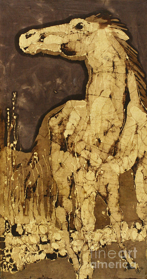 Batik Tapestry - Textile - Horse Above Stones by Carol  Law Conklin