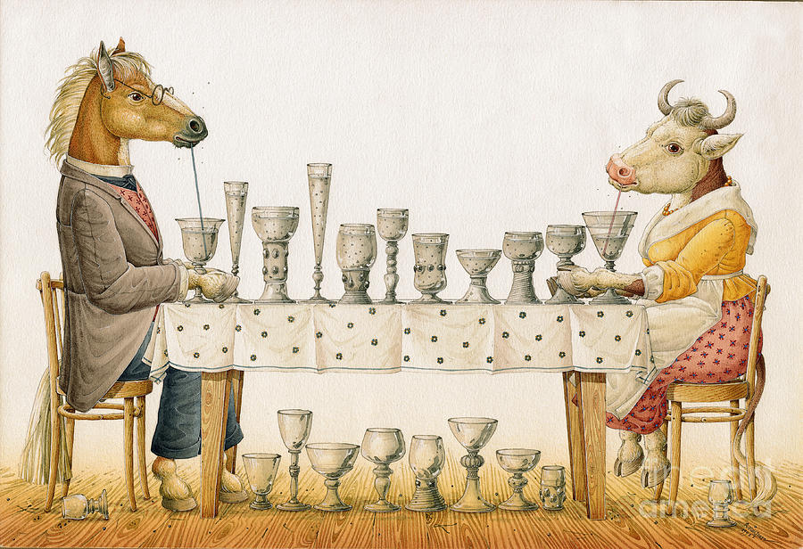Horse And Cow Painting by Kestutis Kasparavicius