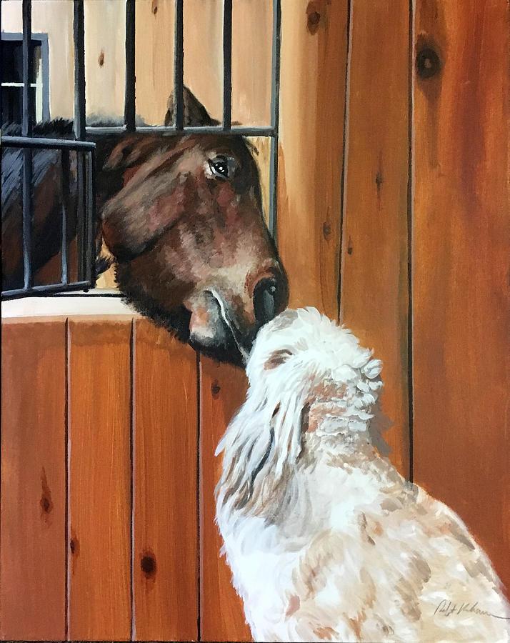 Horse And Dog Painting by Robert Korhonen