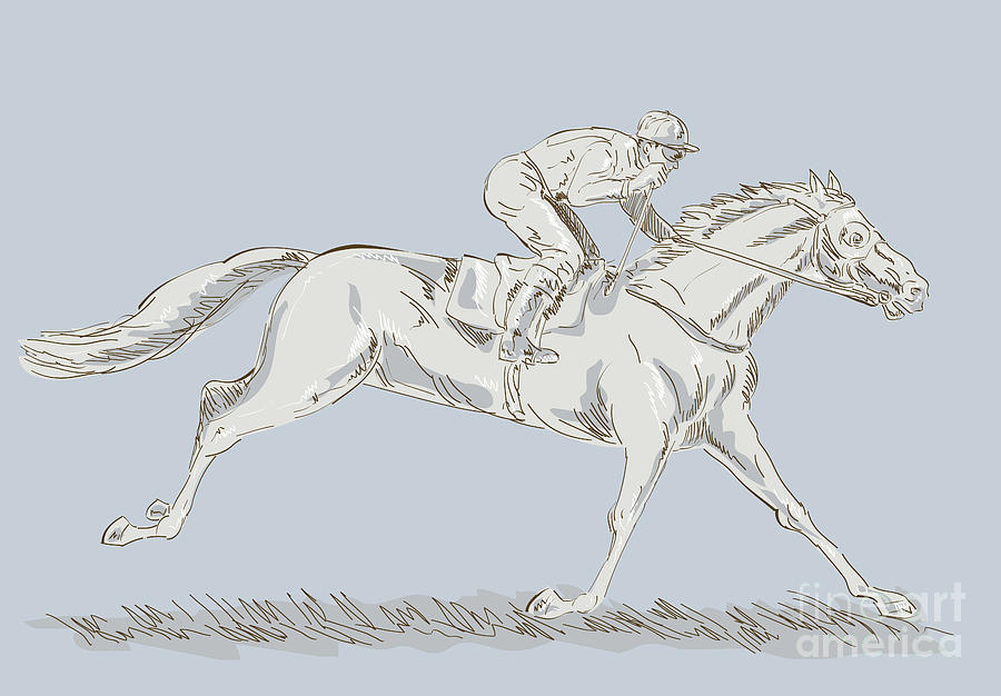 Horse Digital Art - Horse And Jockey by Aloysius Patrimonio