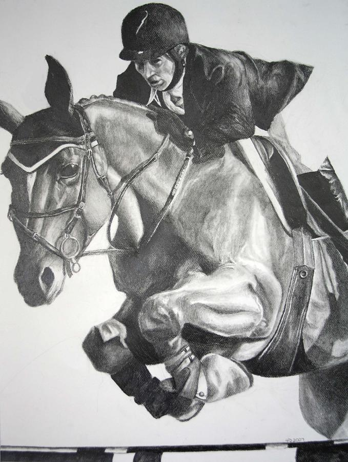 Horse Drawing - Horse And Jockey by Darcie Duranceau