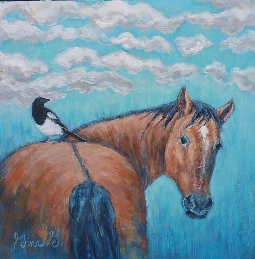 Horse and Magpie by Gina Grundemann