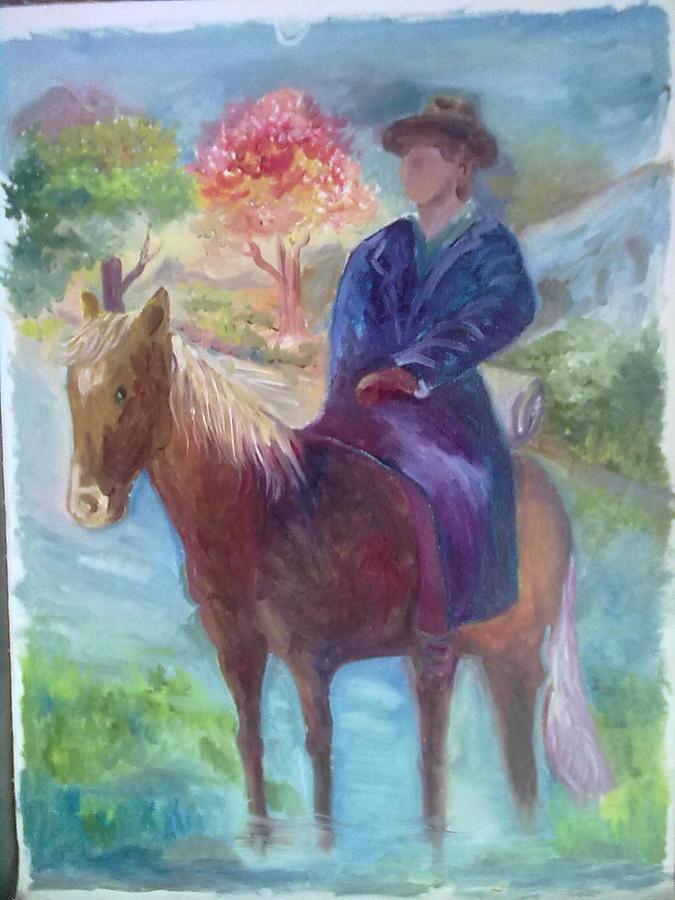 Figurative Painting - Horse  And Man by Nagin Bangaru