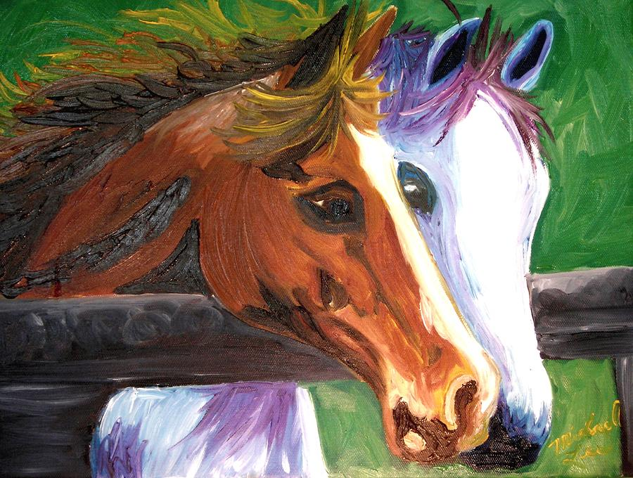 Horses Painting - Horse Bff by Michael Lee