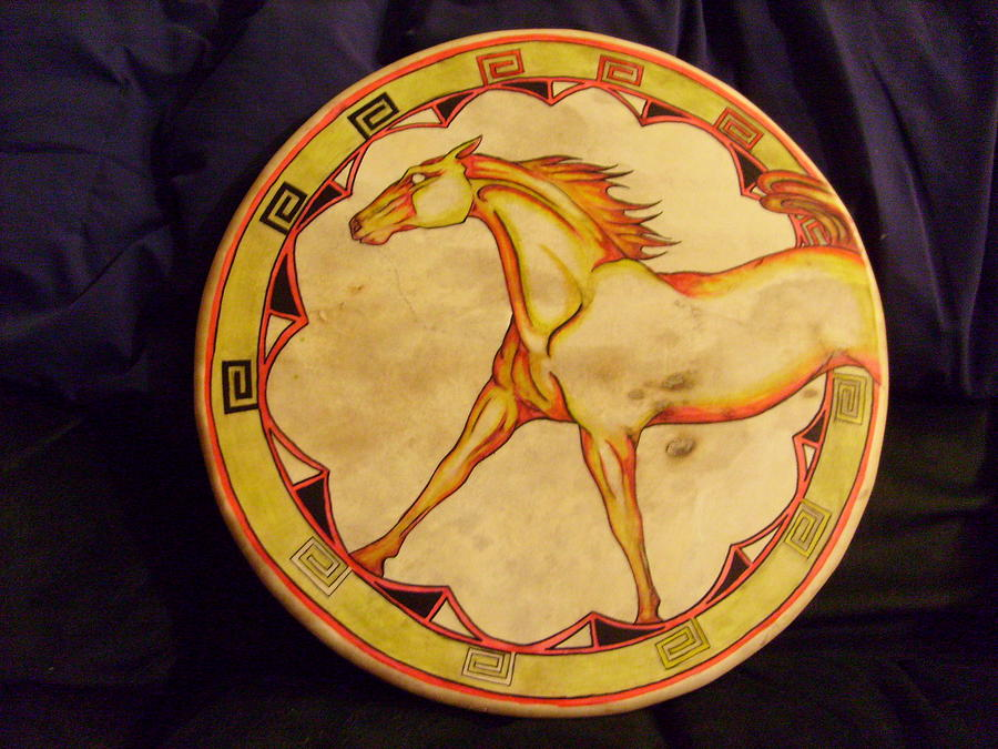 Drum Painting - Horse Drum by Angelina Benson