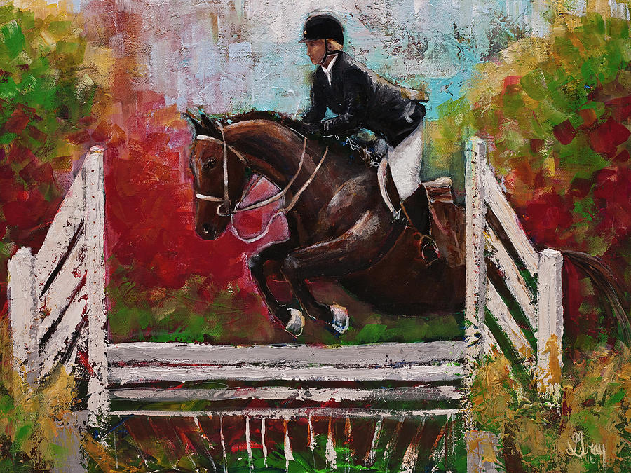 Show Jumper Equestrian Horse Wall Art Painting by Gray Artus