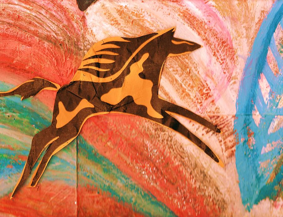 Horse Mixed Media - Horse Jumping Over Colors by Anne-Elizabeth Whiteway