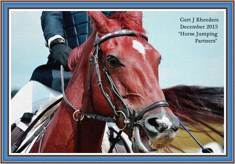 Horse Jumping Partners H A With Decorative Ornate Printed Frame ...
