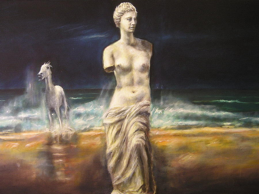 Wild Horse Merging From Thwe Ocean With Venus Demilo Painting - Horse Latitudes by Peter  Stafford