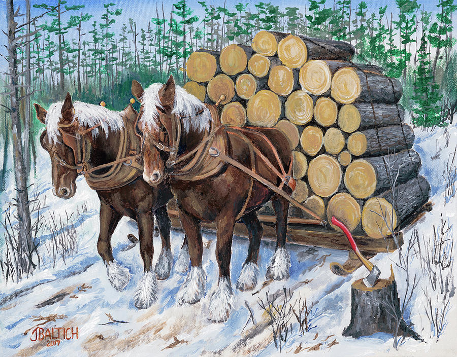 Horse Log Team by Joe Baltich