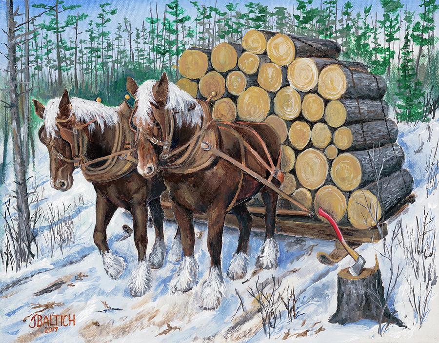 Horse Log Team by Joe Baltich