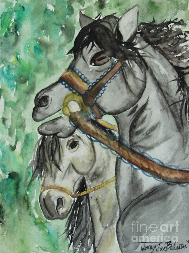 Horse Painting - Horse Meets Carousel Pony by Jamey Balester