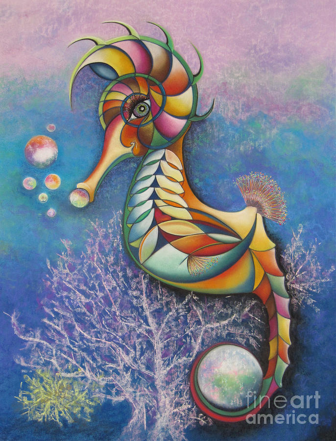 Rainbow Seahorse Holding The World Pastel - Horse Of A Different Color by Tracey Levine