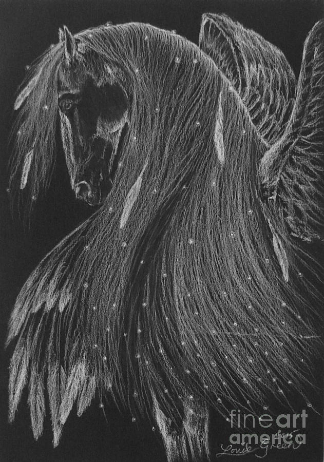 Pegasus Drawing - Horse Of A Thousand Stars by Louise Green