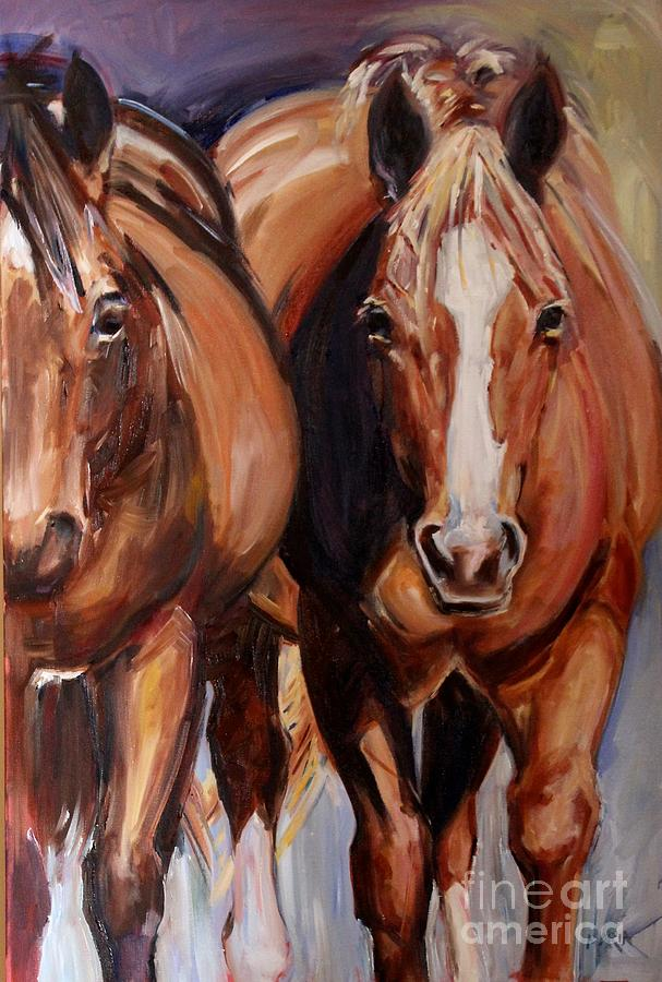 Two Horses Painting - Horse Oil Painting by Marias Watercolor