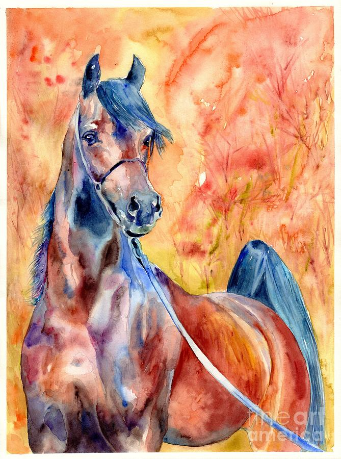 Horse Painting - Horse On The Orange Background by Suzann Sines