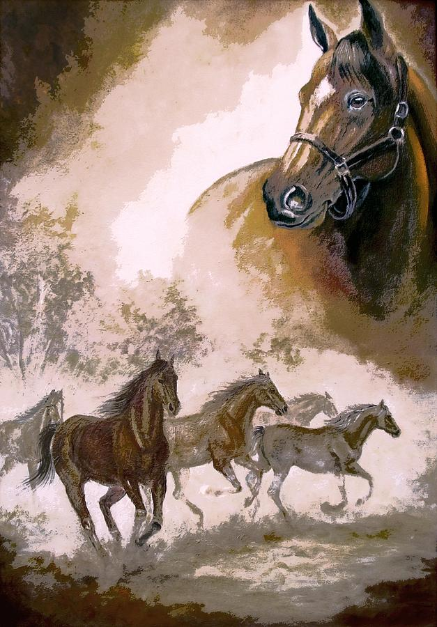 Horse Painting A Dream Of Running Wild Painting by Regina ...