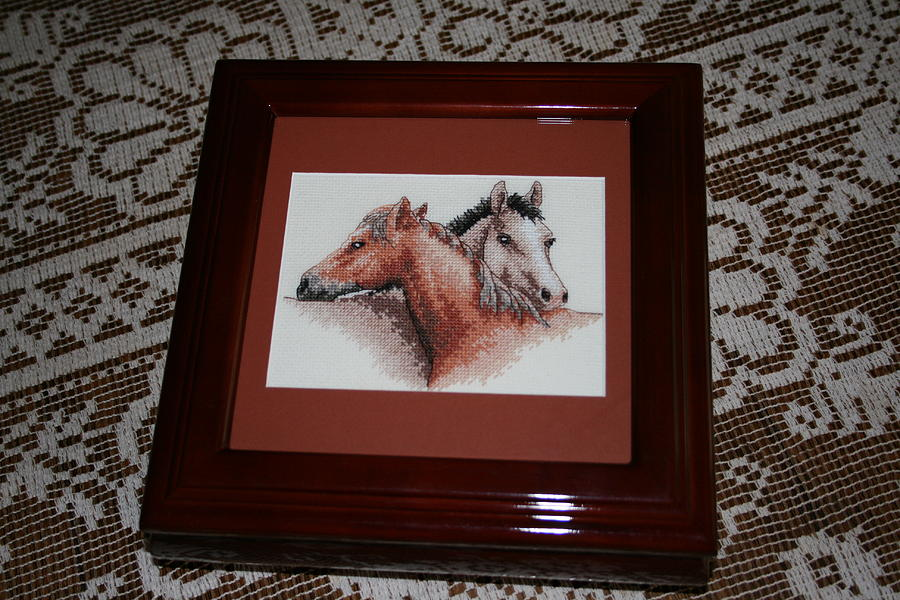 Cross Stitch Tapestry - Textile - Horse Pals Storage Box by Janet  Hall
