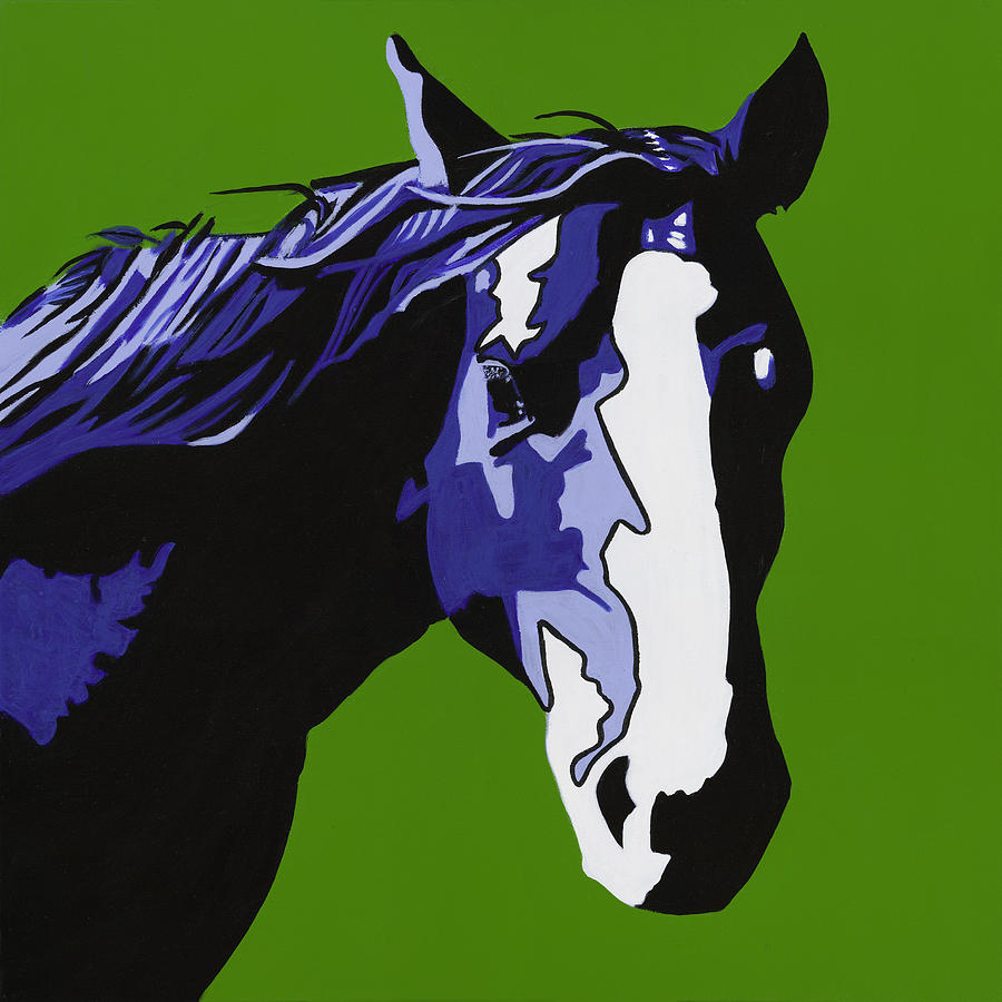Bright Painting - Horse Play Blue by Sonja Olson