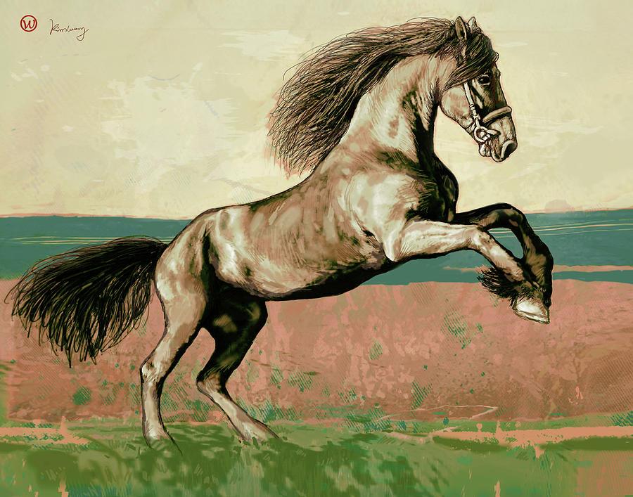 Sketch Mixed Media - Horse Pop Art Poser by Kim Wang