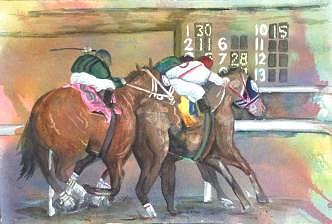 Watercolor Painting - Horse Races by Diane Ziemski