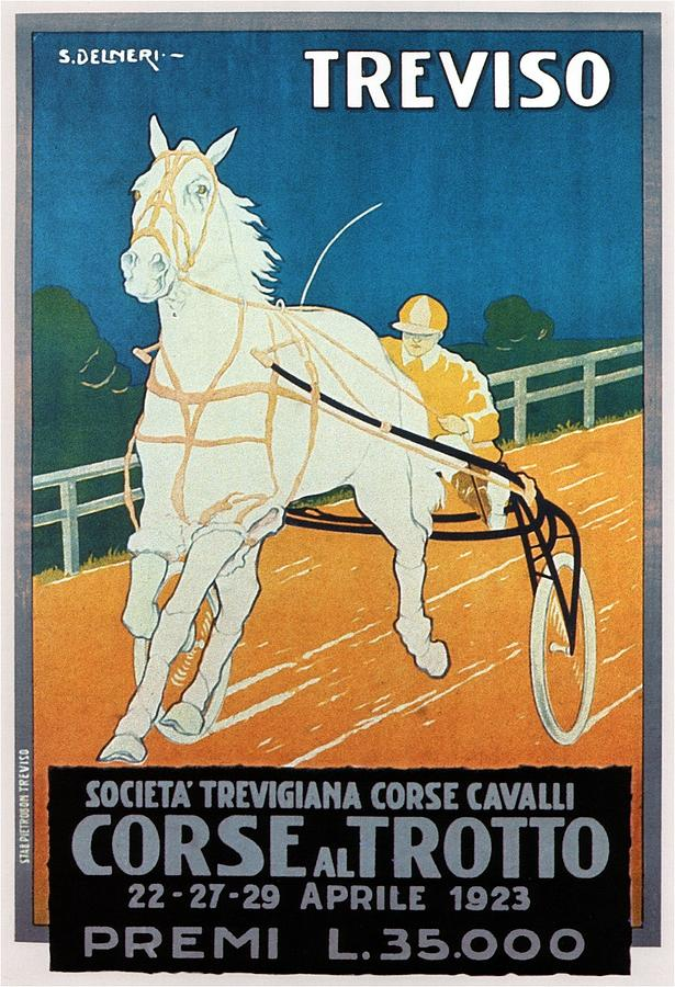 Horse Racing Course In Treviso Italy - Vintage Illustrated Poster For Corse Al Trotto Exposition Painting