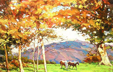 Impressionism Painting - Horse Ranch By Smoky Mountain by Daniel Wall