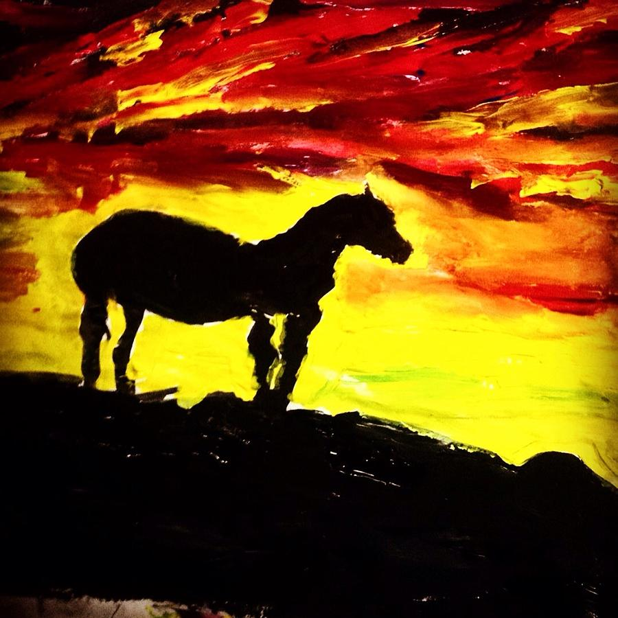 Sunset Painting - Horse Rider In The Sunset by Love Art Wonders By God