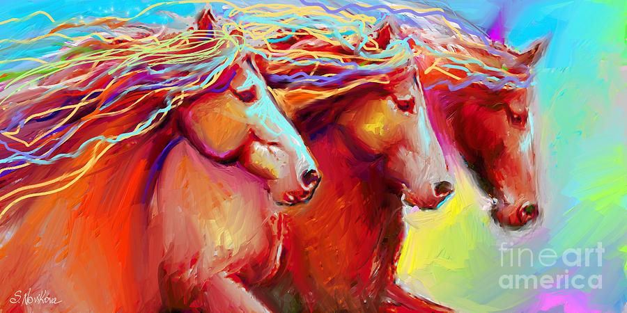 Stampede Painting - Horse Stampede Painting by Svetlana Novikova