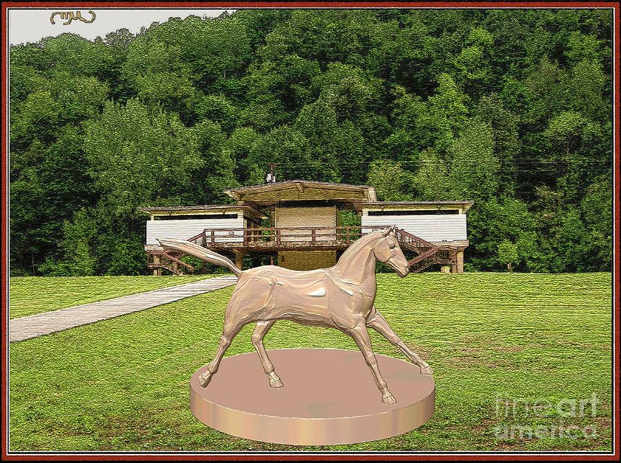 Post-impressionism Digital Art - horse statue 45HS2 by Pemaro