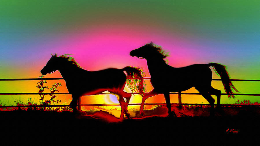 Water Digital Art - Horse Sunset by Gregory Murray
