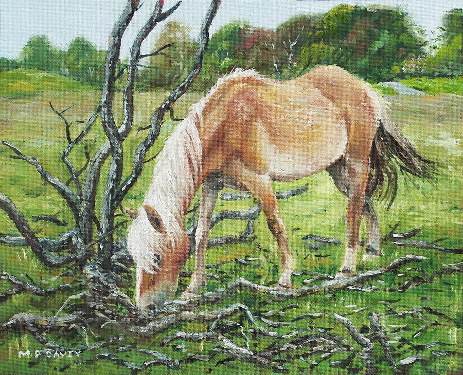 Horse Painting - Horse With Burnt Tree by Martin Davey