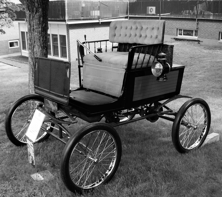 Cars Photograph - Horseless Carriage-bw by Charles HALL