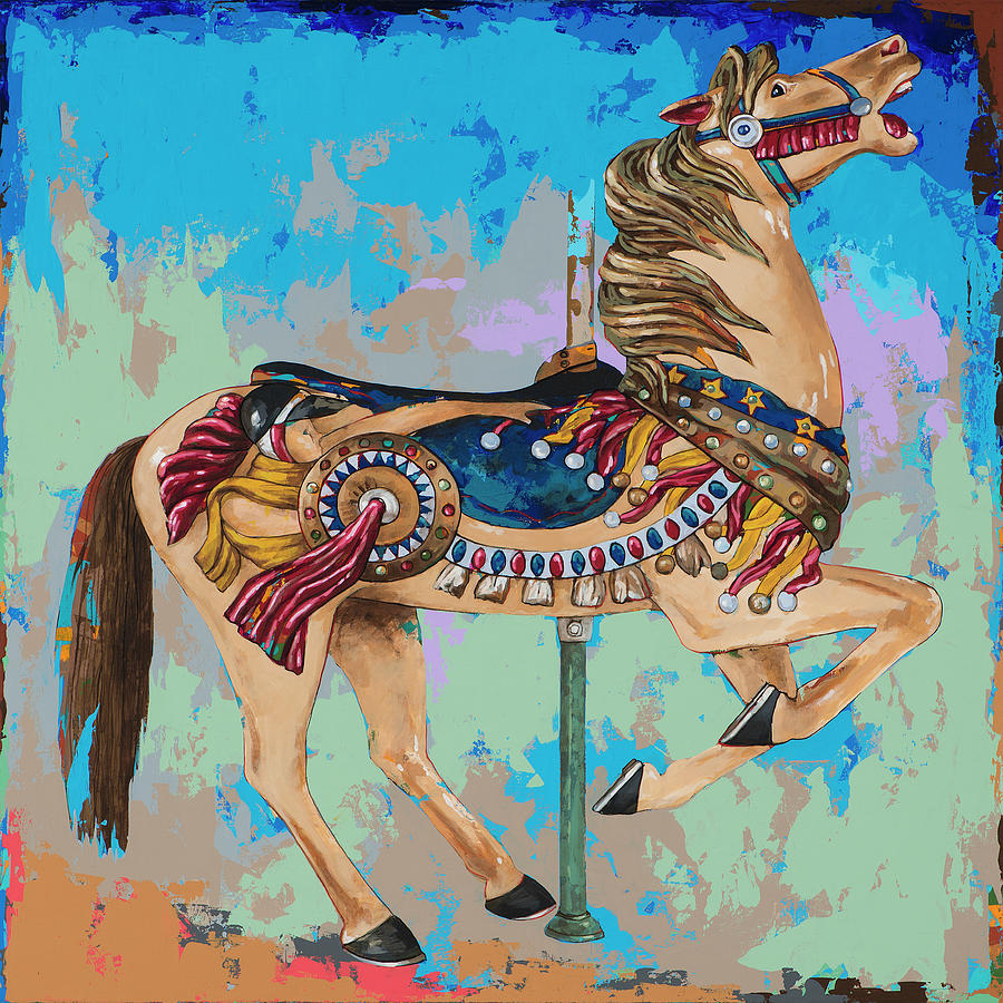 Carousel Painting - Horses #8 by David Palmer