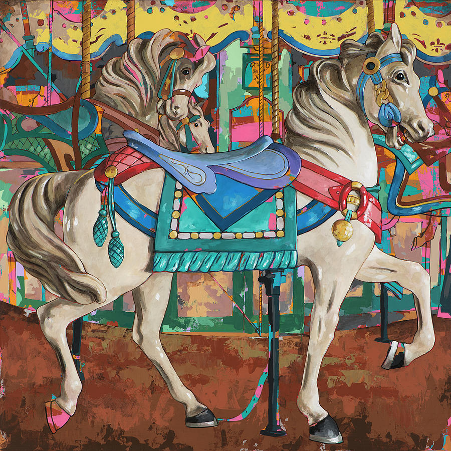 Carousel Painting - Horses #9 by David Palmer