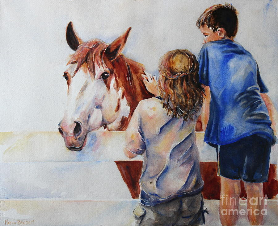 Horse Painting - Horses And Children Painting by Marias Watercolor