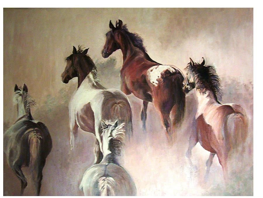 Horses In A Dust Painting by Ewald Smykomsky