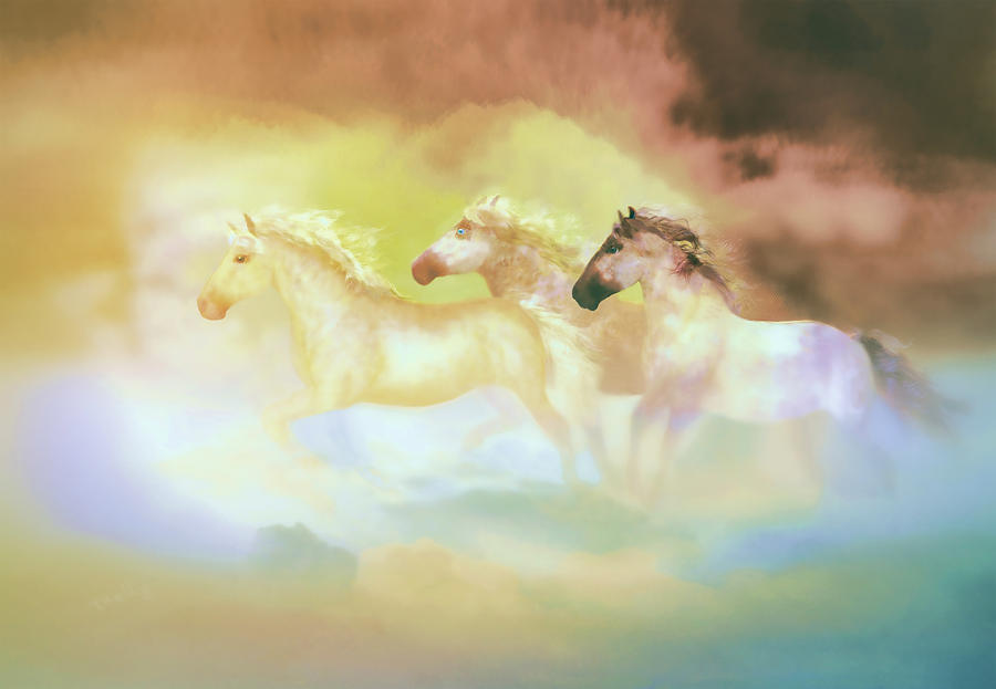 Horses Painting - Horses In A Pearly Mist by Valerie Anne Kelly