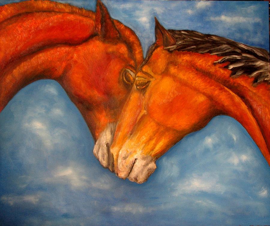 Horses Painting - Horses In Love.oil Painting by Natalja Picugina