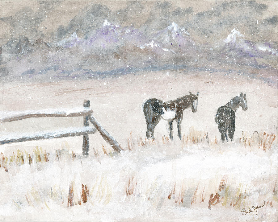 Horses in Snow by Sheila Johns