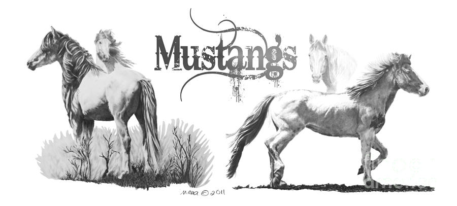 Horses Mustangs by Marianne NANA Betts