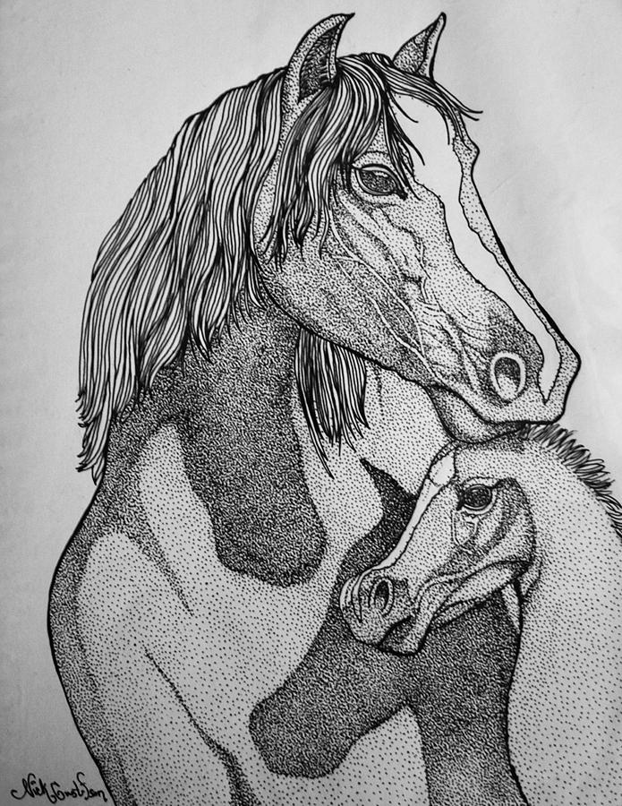 Horse Drawing - Horses by Nick Gustafson